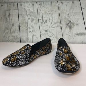 Brian Atwood Bright Sparkle Flats Loafers Snake 8